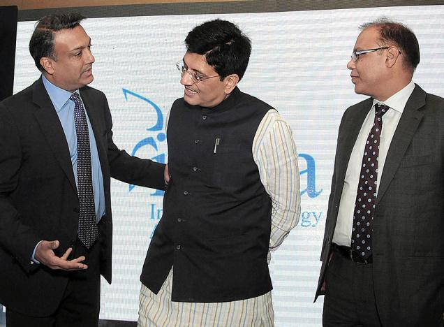 Piyush Goyal, MoS for Power, Coal and New and Renewable Energy with Sumant Sinha, Chairman & CEO of ReNew Power Ventures (left), Madhusudhan Khemka, Chairman of Indian World Turbine Manufactures Association (right), during the launch of IWEA in New Delhi. - KAMAL NARANG